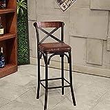 Tabouret de barre de fer forgé Cafe américain |Salon avec chaise haute chair de dossier |Chaise de barre d'affaires Chaise de bar Sold Sitting Tabouret Soft Soft Bar Tabouret 75cm (Couleur: B)