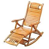 Chaise de Jardin, Chaise zéro gravité, chaises Longues, Chaise berçante Pliante en Bois, Balcon, Dossier réglable en Bambou avec Appui-tête et Massage des Pieds