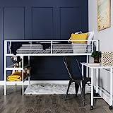 WE Furniture Nous Avons Meubles Twin Lit Mezzanine avec Bureau et étagères, Noir, Métal, Blanc, Jumeau