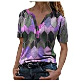 AFFGEQA Mode Femme Hauts imprimés à Manches Courtes Chemisier T-Shirt à col en V, Pull à imprimé T-Shirt Chemisier Blouse Top