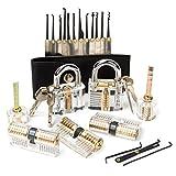 ZITFRI 15 PCS Kit Crochetage Serrure Lockpicking Cadenas Transparent 7 Serrures Transparent de crochetage pour Serruriers, Débutants, Professionnels et Formation
