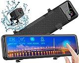 Caméra de Voiture GPS, Dashcam 2,5K Avant Arrière Voiture Rétroviseur Ecran Tactile 12 Pouces 2560P Ultra HD Caméra de Recul Embarquée Conduite Enregistreur Surveillance Stream Media G Capteur DVR