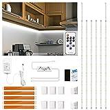 Ruban LED Blanc Froid 3m, Enteenly Bande LED à Intensité Variable Blanc Chaud avec Télécommande, Kit D'éclairage sous Armoire pour Meubles, Escalier, Placard, Cuisine, étagère, 180 LED, 6500k