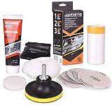Jufisto Kit de polissage de phare Mega pour polissage/restauration/rénovation de lampes de voiture, perceuse, visseuse sans fil, adaptateur, lampe phare de voiture