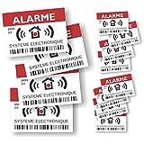 Decooo.be - Autocollants dissuasifs Alarme - Système électronique - Lot de 12 (4 Grands de 14,8 x 10,5 cm + 8 Petits de 7,4 x 5,2 cm)