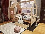Hyggelia Mon lit cabane Lit en Bois Ricco pour Enfants, lit de Maison avec barrières et Deux tiroirs, pour Adolescents, (90 x 190cm (Twin Size), Bois Naturel)