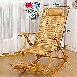XBSLJ Chaises de Camping Fauteuil inclinable réglable pour Le Soleil extérieur ou Une Pause intérieure, Chaise Longue portative avec Massage des Pieds, Chaise berçante Pliante en Bois