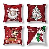 Anyingkai 4PCS Thème de Noël Housse de Coussin,Taie d'oreiller de Flocon de Neige,Taie d'oreiller de Noël,Noël Housse de Coussin,Taie d'oreiller de Noel pour Canape (Dessin animé Rouge)