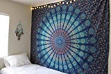 Tapisserie mandala bleue pour accrocher au mur, plaid, drap de lit, nappe de table, 54 x 84 cm, bleu