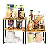 Rack de placard Armoire étagère Organisateur étagère cuisine, étagère Extensible à épices empilable pour organisateur de cuisine, salle de bains, Garde-Manger, Mental et Bambou, Lot de 3