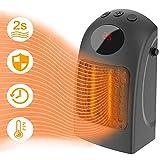 Bcamelys Mini Chauffage Électrique,Radiateur 3 Réglages de Température Radiateur Céramique Chauffage électrique Thermostat,900W,2 Seconde Chauffage,pour Immeubles de Bureaux et Locaux … (Noir)