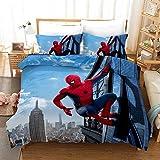 ZZALL Spiderman Parure de lit 3 pièces avec housse de couette et 2 taies d'oreiller 100 % microfibre avec fermeture Éclair, Microfibre, Spiderman 04, 200 x 200 cm