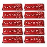 Decooo.be Lot de 10 Autocollants Alarm Dissuasif pour Les Voleurs - Ultra résistant aux griffures, Pluie, Gel, UV. - 19 mm x 49 mm - Epaisseur 2 mm