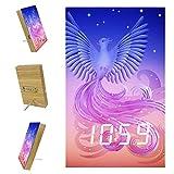 Réveil numérique Horloge LED Réveil LED Multifonction avec Alimentation USB Commande vocale Oiseau Magique Le phénix L'Oiseau de feu 15.7x9.6x2.3 cm