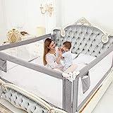 Barrière de Lit Portable Bébé - 80' Très grand Rails de lit pour tout petits pour matelas jumeaux, double, pleine grandeur Queen & King(gris, 1 côté) (Gris, 150CM)
