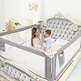 ZEHNHASE Barrière de Lit Portable Bébé - 80' Très grand Rails de lit pour tout petits pour matelas jumeaux, double, pleine grandeur Queen & King(gris, 1 côté) (Gris, 180CM)