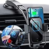 Chargeur sans Fil Voiture,15W Qi Chargeur Induction Voiture, Automatic Clamping Support Telephone Voiture Induction pour iPhone 12/12Pro/12 mini/11/11 Pro/XS/X/XR/8, Samsung S20/S10Plus/S9,Huawei etc