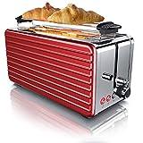 Arendo - Grille-pain Inox automatique à 2 longues fentes pour 4 tranches - Fonction de décongélation - 6 niveaux de brunissement - Isolation thermique - 1500W - Acier inoxydable
