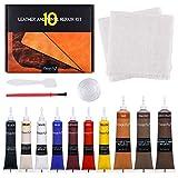Magicfly Kit de Réparation Cuir et Vinyle, 10 Couleurs Teinture pour Cuir Réparation de Trous Rayures Déchirures Brûlures pour Sofa, Siège de Voiture, Chaise, Canapé