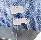 OrtoPrime Chaise orthopédique de douche en forme de U Pieds réglables Tabouret de bain avec dossier amovible Poids maximum 159 kg