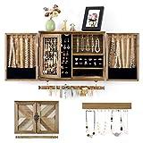 Organiseur de bijoux mural rustique avec porte de grange en bois pour colliers, boucles d'oreilles, bagues, tige de bracelet amovible et crochet pour accrocher des bijoux colorés