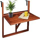 Deuba Table de Balcon Suspendue en Bois d'acacia certifié FSC Table de Balcon Rabattable 64 x 45 x 87 cm Balcon terrasse