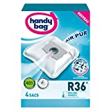 Handy Bag - R36 - 4 Sacs Aspirateurs, pour Aspirateurs Moulinex et Rowenta, Fermeture Hermétique, Filtre Anti-Allergène