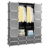 HENGDA 16 Cubes DIY Système d'étagères Penderie Ouvert Plastique Portemanteau Garde-robe Armoire Noir 180 * 142 * 37cm
