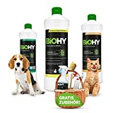 BiOHY Happy Pet Kit | Nettoyant pour tapis, coussins, textiles et sol | Élimine toutes les odeurs et taches telles que l'urine et la nourriture des chiens et chats |