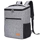 Lifewit 24L Sac à Dos Isotherme à Glacière Cooler Backpack Bag, Sac Isotherme Portable pour Déjeuner Plage Pique-Nique Camping BBQ, Gris