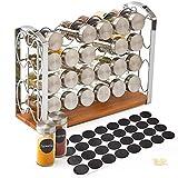 EZOWare Porte épices, Support à 4 niveaux avec 24 pots à épices en verre et 32 étiquettes pour comptoir, cellier, cuisine, garde-manger - chromé