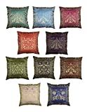 RAJRANG BRINGING RAJASTHAN TO YOU Kantha Throw Pillow Sofa Housse de Coussin Canapé Oreiller Coloré Boho Chic Bohème Accent Floral Housse de Coussin Multi 40x40 cm