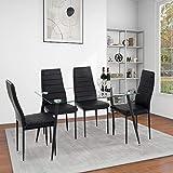 GOLDFAN Table à Manger avec 4 Chaises Table de Cuisine en Verre Moderne Table à Manger Rectangulaire avec Pieds en Métal Chaise de Cuisine en Cuir, Noir