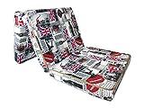 Natalia Spzoo® Matelas lit futon pliable pliant 195 x 65 x 10 cm choix de designs multicolore (London)