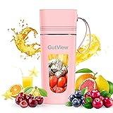 GutView Mixeur portable avec 4 lames Extracteur de charge magnétique Fabriqué en matériau sans BPA Mini mixeur pour boire avec une seule main pour smoothies et smoothies (pink)