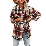 Mode Automne Et Hiver Veste à Manches Longues Chemise à Carreaux LâChe Veste en Laine Femmes