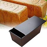 Moule à pain antiadhésif, moule à pain de pain grillé avec des boîtes de pain de pain de pain en métal de couvercle pour la fabrication de gâteau et de pain grillé (Noir)