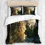 DAHALLAR Parure de lit,Château dans Les Montagnes Photos Seigneur des Anneaux,1 Housse de Couette + 2 Taies d'Oreillers,Single
