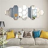 Lot de 12 miroirs autocollants muraux hexagonaux 3D en acrylique pour décoration de maison, salon, chambre à coucher, canapé, TV Argenté