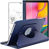 ebestStar - Coque Compatible avec Samsung Galaxy Tab A 10.1 2019 T510 T515 Housse Protection Etui PU Cuir Support Rotatif 360, Bleu Foncé + Film écran en Verre Trempé [Tab: 245 x 149 x 7.5mm, 10.1'']
