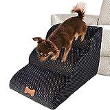 Bounabay Escalier 3 marches pour animal domestique - Avec housse en peluche - Échelle - Rampe pour petit chien - Échelle en éponge - 60 x 42 x 39 cm (A)