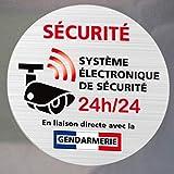 Adhésif - Système Electronique de Sécurité Relié à la Gendarmerie - Lot de 12 Adhésifs Argent Aspect Alu Brossé- Vitre - Dimensions 75 mm - Protection Anti-UV