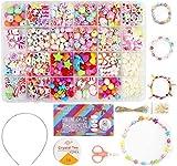 Ucradle Perles pour Enfant, 550pcs Bracelet Bricolage Perles Set Colliers Perle Enfants pour Alphabet Poney, Kit de Fabrication de Bijoux Art Crafts Jouets Perle Enfant Classiques et Bijoux