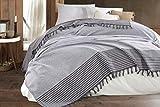 Belle Living Atil Couvre-lit de qualité supérieure - Idéal pour lit et canapé - 100 % coton - Franges faites à la main - 200 x 250 cm (gris)