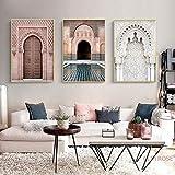 Henypt Marocain Porte Paysage Nordique Religion Mur Affiche Toile Art Peinture Casablanca Palais Mur Salon décoration de la maison-60 * 80 * 3 avec Cadre