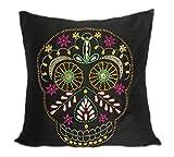Sucre Tête de mort décoratifs Taie d'oreiller brodée Tête de mort Couvre-lit Taie d'oreiller Halloween Taie d'oreiller, Soie, multicolore, 18x18 Inch