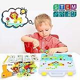 252 Pièces Jeux Mosaique 3 4 Ans Enfant Puzzle 3D -Assemblage Jeu de Construction Jouet -Jeu Montessori Éducatif avec Perceuse Tournevis Outil -Éducatifs et Scientifiques pour Enfants Fille Garcon