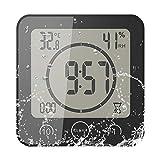 SUNASQ Horloge de Douche étanche pour Salle de Bain, Digital LCD Température Humidité Mètre Touch Control Minuterie Alarme Thermomètre Hygromètre pour Cuisine Salle De Bains.