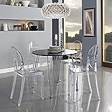 Across-EU Shop Lot de 2 Ghost Chaises en Acrylique Polycarbonate pour Salle à Manger, Salon, Bureau, Restaurant et Jardin, Taille: 91*35*48cm, Poids: 9kg, Transparent