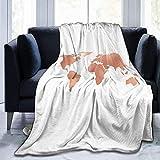 HGGZJUA Couvertures,Carte du Monde Or Rose Bronze Cuivre Métallisé Jeté De Couverture en Fourrure Confortable Et Super Doux avec Canapés/Canapé/Chaises/Canapé - Léger, Chaud Et Confortable 80'X60'in